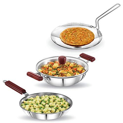 Bhuvika-ri-Ply - Juego de utensilios de cocina Triniti (1 sartén, tava, sartén profunda con tapa de cristal), color plateado