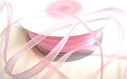 CaPiSo 100 m Organza Chiffon 3 mm breit mit Webkante (Rosa)