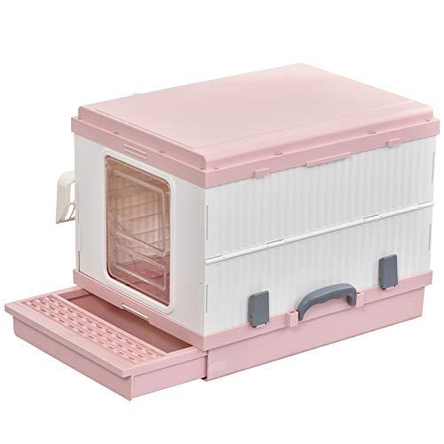 Pawhut Caja de Arena para Gatos Plegable Arenero Portátil Aseo Quita Mal Olor con Manija Puerta Orificio de Ventilación Bandeja Material ABS 54x43x42 cm Blanco y Rosa