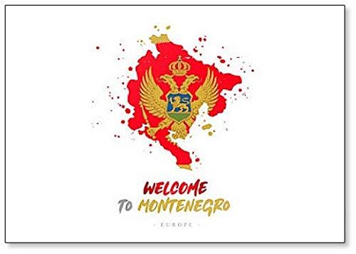 Welcome to Montenegro. Kühlschrankmagnet Flagge & Landkarte des Landes, Kühlschrankmagnet