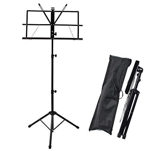 Display4top Höhenverstellbarer Notenständer, tragbarer klappbarer Metallständer mit Tragetasche, Leichtgewicht für Aufbewahrung oder Reisen, Schwarz