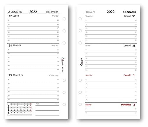 Ricambio agenda 2022 settimanale bianco (90 gr) 9,5 x 17 bilingua ricambio agenda organizer