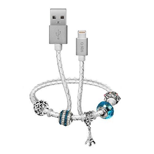 SBS Cable Lightning con pulsera – Cable de carga de 39 cm con conector USB 2.0 y Lightning MFI – Ideal para Apple iPhone 11, 11 Pro, 11 Pro Max, X, XS, XS Max, XR, 8, 8 Plus, 7, 7 Plus, 6, 6s, iPad