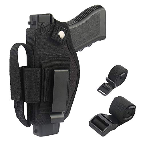 Concealed Carry Holster IWB OWB Car Holster with Magazine Slot and 2 Strap Mounts for Right and Left Hand Gun Accessories (Black)