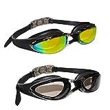 Bezzee-Pro 2er-Set Schwimmbrillen mit Verstellbaren Silikonbändern - Triathlon Brille - Schwimmbrille mit UV-Schutz für Männer, Frauen und Erwachsene