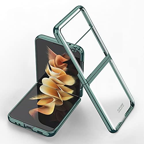 für Samsung Galaxy Z Flip 3 5G Transparente Hülle Überzug Rahmen Kristallklare PC Stoßfeste Schutzhülle (Grün)