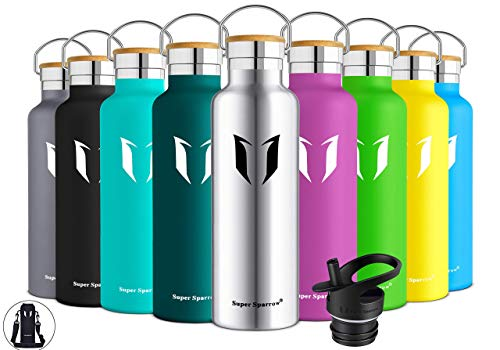 Super Sparrow Trinkflasche Edelstahl Wasserflasche - 750ml - Isolier Flasche mit Perfekte Thermosflasche für Das Laufen, Fitness, Yoga, Im Freien und Camping   Frei von BPA (Edelstahl)