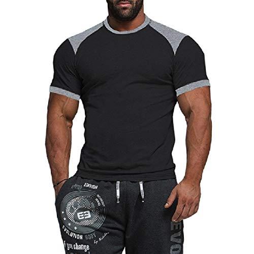 Abetteric Men's Short-Sleeve Basic Cotton Base Soft Fashion T-Shirt Top Tees Black S
