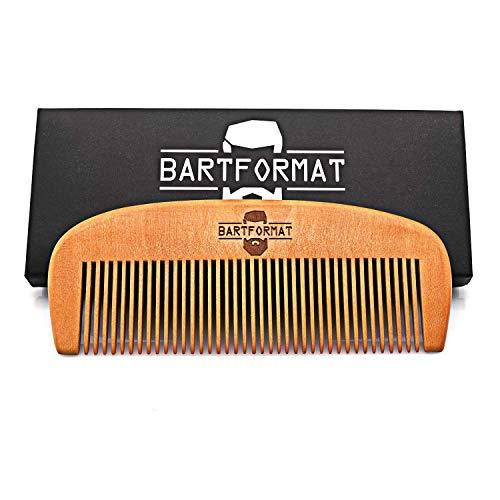 BARTFORMAT Bartkamm groß (13 cm) aus 100% Birnbaumholz - Stabiler, Antistatischer Bart Kamm