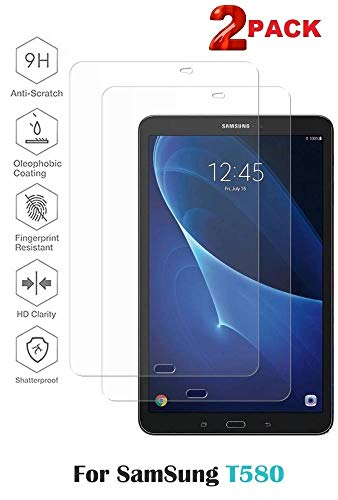 [ 2 PACK ] Genuine Clear Tempered Glass Flim Screen Protector For Samsung Galaxy Tab A 10.1' [ SM-T580 / SM-T585] -[BUBBLE FREE INSTALLATION]