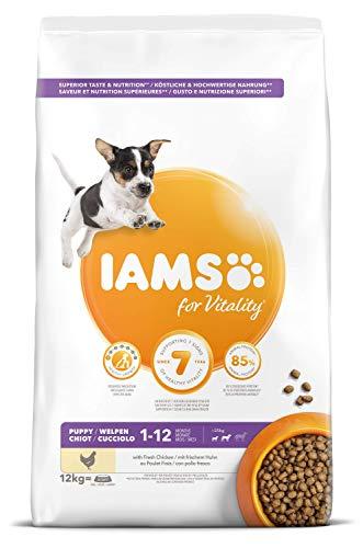 IAMS for Vitality Alimento para Cachorros Pequeños y Medianos con pollo fresco, 12 kg