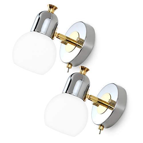 MantoLite 2pcs Luces De Pared Modernas De Vidrio Con Forma De Globo Con Interruptor Lámparas de Lectura Nocturna de Estilo Nórdico Para Niños Dormitorio Mesita de Noche (Cromo, Bombillas Incluidas)