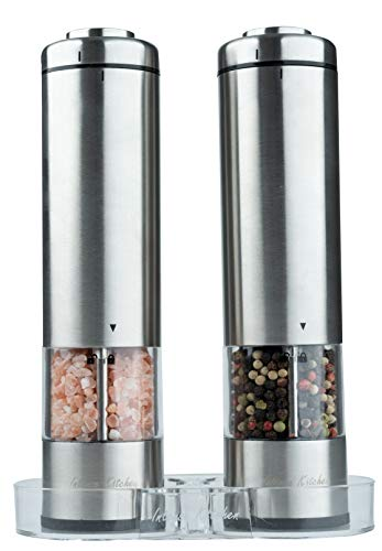 Electric Salt and Pepper Grinder Set by Intense Kitchen - Battery Operated Stainless Steel with Light & Clear Container Mills (2)- Adjustable Ceramic Coarseness - Fast Powerful Mill - One Hand Shakers