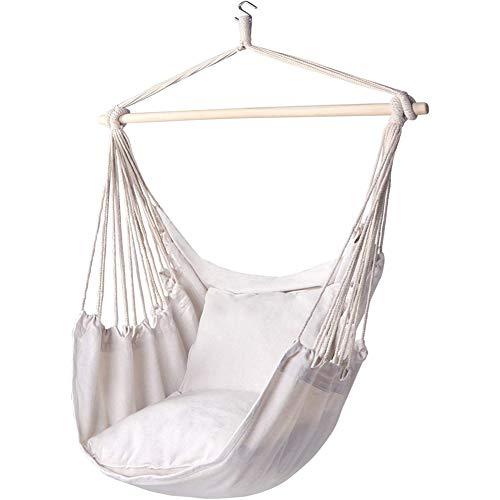 ZXL schommelstoel, hangmat, ademend en comfortabel, maximale belasting 200 kg, ontspannende hangende schommelstoel, katoenweefsel voor binnen en buiten, slaapkamer, terras