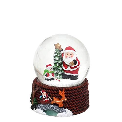 Dekohelden24 Schneekugel mit Weihnachtsmann, Maße H/B/Ø Kugel: ca. 6,3 x 4,8 cm/Ø 4,5 cm.
