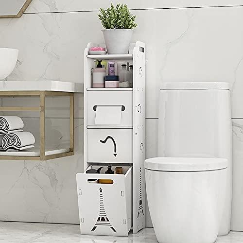 Badkamerkast Hoge Vloerstaande, Vrijstaande Toiletopslag Smalle Lade Waterdichte PVC-vloerkastorganizer, voor Badkamer en Toilet (wit)