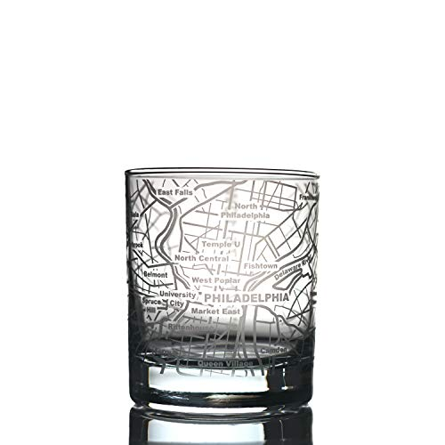 Greenline Goods Whiskey Glasses - 10 Oz Tumbler for Philadelphia Lovers (Single Glass) | Etched with Philadelphia Map | Old Fashioned Rocks Glass