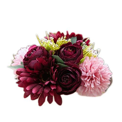 Demino gesimuleerde nep planten Kunstmatige Gerbera Bruids levensechte bloemen kunstmatige boeket groen Ofiice Thuis Bruiloft Decoraties