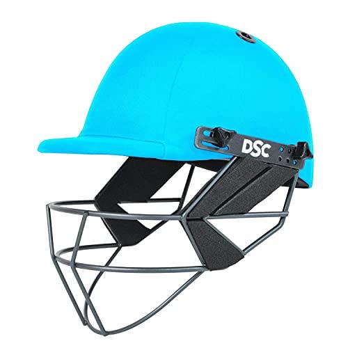 DSC FORT44 Cricket Helmet for Men & Boys (Adjustable Steel Grill   Back Support Strap  Color: Sky Blue   Light Weight   Size :Extra Large