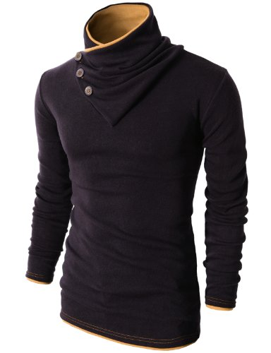 H2H Mens Fashion Turtleneck Slim Fit Pullover Sweater Oblique Line Bottom Edge Black US M/Asia L (KMTTL040)
