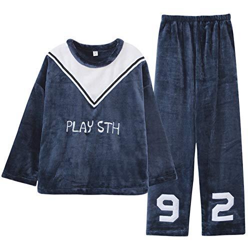 Zanzan Pijamas de Las Mujeres de otoño e Invierno cómodo para Colorear cálido Alfabeto de Manga Larga Pantalones Traje de casa Conjunto