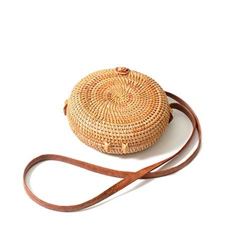 Handgewebte runde Rattantasche Tropical Beach Style Gewebte Schultertasche aus Rattan mit Lederband