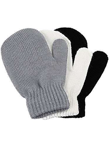 Satinior 3 Pairs Toddler Magic Stretch Mittens Little Girls Soft Knit Mitten Baby Boys Winter Knitted Gloves (Gray, White and Black, 1 - 4 Years Size)