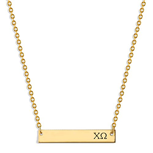 A-List Greek Chi Omega Necklace, Horizontal Bar, XO Engraved Greek Letters Jewelry, Gold, Great Gift for Sorority Big Little