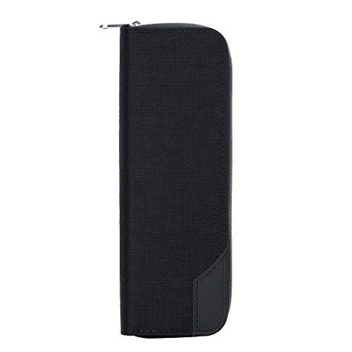 Cresee PloomTECH + 電子タバコ専用ケース Ploom Tech Plus プルームテック プラス ケース 全部収納 シンプル 丈夫で長持ち コンパクト 超軽量 持ち運び便利 財布型 ノレザー 最新型 レザー (ブラック)