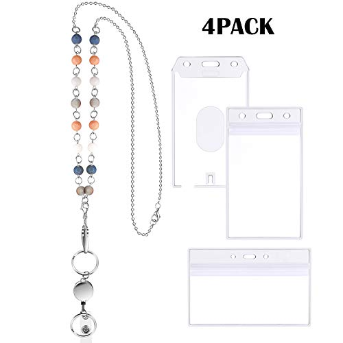 4 Pieces ID Badge Holder Set, Include Retractable Lanyard Necklace with Badge Holder Beaded Lanyard Stainless Steel Chain Necklace and 3 Pieces Plastic ID Card Holder for Office School Factory