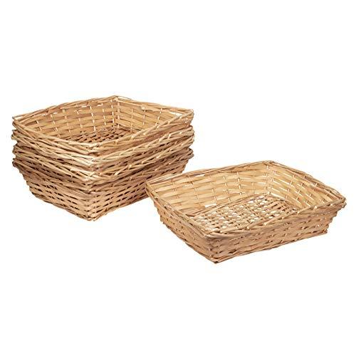 EHC Woodluv - Juego de 5 cestas de Mimbre de Madera Natural
