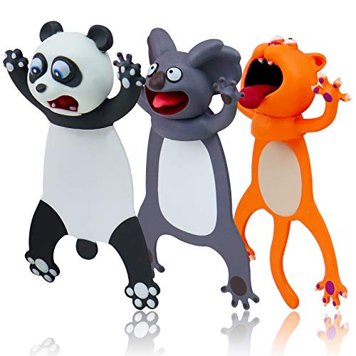Funny Bookmarks - 3PCS Bookmarks Wacky Pals, Cute Animals Bookmarks for Kids, Boys and Girls