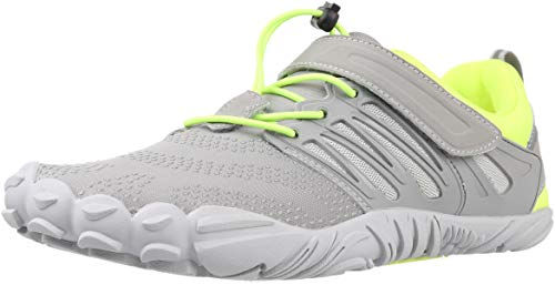 WHITIN Zapatilla Minimalista de Barefoot Trail Running para Hombre Mujer Five Fingers Fivefingers Zapato Descalzo Correr Deportivas Fitness Gimnasio Calzado Asfalto Verde Gris 44