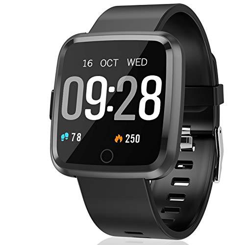 Polywell Fitness Armbanduhr mit Herzfrequenz, Fitness Tracker, Bluetooth Sportuhr Aktivitätstracker Schrittzähler, Schlaf Monitor, Kalorienzähler [2 x Replaceable Watch Strap]