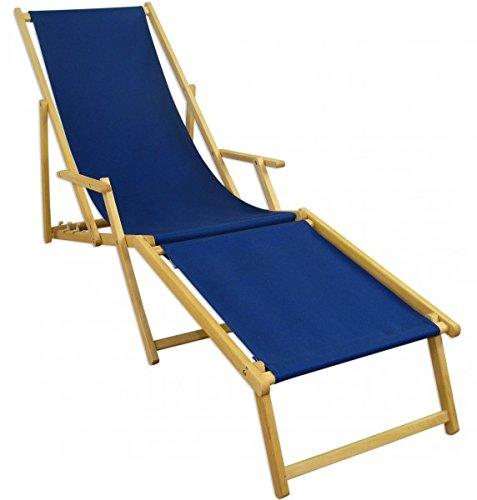 Erst-Holz Liegestuhl blau Sonnenliege Gartenliege Fußteil Deckchair Strandstuhl Buche klappbar 10-307NF