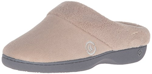 isotoner Women's Terry Slip In Clog, Memory Foam, Comfort and Arch Support, Indoor/Outdoor, Taupe, 6.5-7 M US