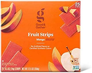 Fruit Strips Mango Fruit Leathers Healthy Snack Made with Real Fruit Puree Concentrate Good and Gather 25 Strips (Mango)