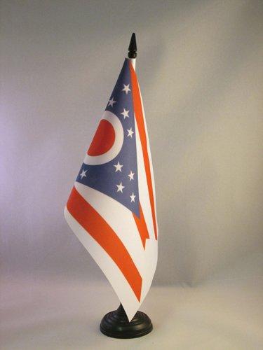 AZ FLAG TISCHFLAGGE Ohio 21x14cm - Bundesstaat Ohio TISCHFAHNE 14 x 21 cm - flaggen
