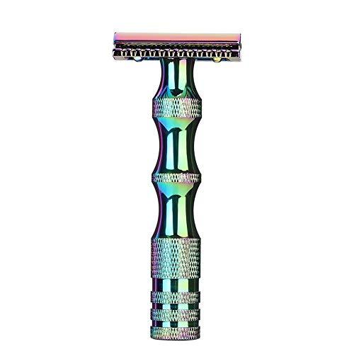 Afeitadora manual, mango clásico de metal antideslizante para hombres