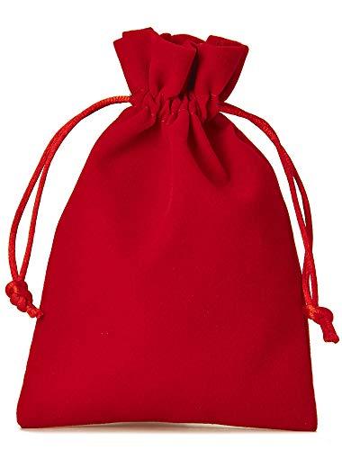 12 bolsitas de terciopelo con cordón para cerrar, tamaño 15x10 cm, bolsa para regalos de navidad, cumpleaños, joyas y otros detalles hechos a mano (rojo)