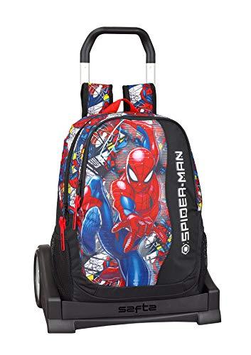 Spiderman'Super Hero' Ufficiale Zaino Schienale Ergonomico con Carrello Safta Evolution