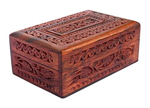 WorldOfIndianArt - Joyero de madera hecho a mano para mujer, diseño de recuerdo