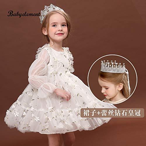 don997gfoh08yewi Meisjes herfst jurk 2019 nieuwe buitenlandse kinderen herfst meisje lange mouwen herfst rok meshWhite + zilver met diamanten kroon
