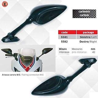 Compatible con Cagiva Aletta Oro 125 PAR DE Espejos para Motocicleta CARENATA Espejo Aprobado LEJOS Carbon Look 5580+5581 + Kit DE Montaje Ataque Tornillo Universal M.6