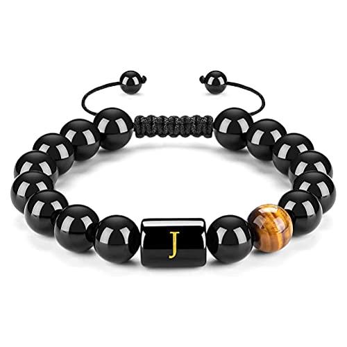 WINBST Pulseras de letra, 26 letras hombres mujeres pulseras ajustables de 10 mm natural negro ónix ojo de tigre piedra perlas trenzado cuerda pulsera significativa regalo