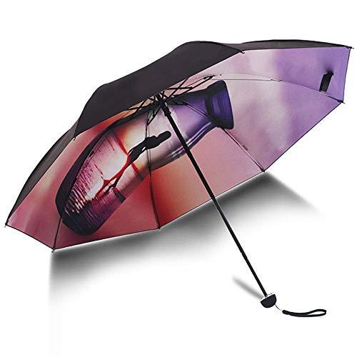 Big seller Regenschirme UV-Schutz Sonnenschirm schwarz Kunststoff Sonnencreme weibliche Sonnenschirm Regenschirm Taschenschirm (Farbe : Purple)
