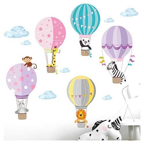 Little Deco Aufkleber Zoo Tiere im Heißluftballon I S - 75 x 44 cm (BxH) I Wandbilder Wandtattoo Kinderzimmer Herzen Tiere Deko Mädchen Mädchenzimmer Sticker DL203