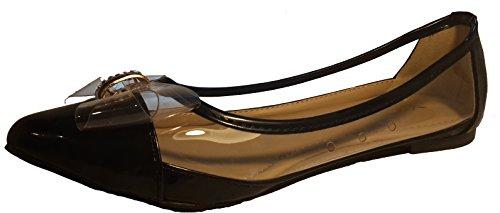 3-W-Hohenlimburg Pfiffige Ballerinas mit Durchblick in schwarz. Transparent im besonderen Look. Topmoderne Damenschuhe, Schuhe für Damen. EIN echter Hingucker-Schuh. Schwarz. BAL106. Größe 39.