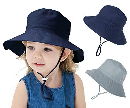 Sarfel Chapéu de sol para bebês meninos de verão com proteção solar FPS 50+ chapéu infantil ajustável para bebês, Azul-marinho e cinza, 2-5T