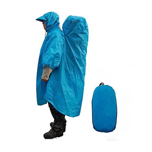 Sac à dos Nouveau camping en plein air Randonnée monobloc Imperméable Poncho Cover Cap Sac à dos (Blue)